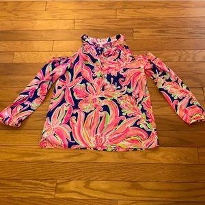 Lilly Pulitzer Silk Cold Shoulder Top